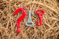 Question mark and two keys on hay backfround Royalty Free Stock Image