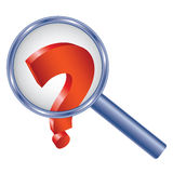 Question Mark Under Magnifier Glass Royalty Free Stock Photography