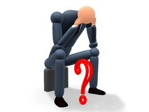 Question mark v4. Cgi of a bussinessman under frustration royalty free illustration