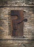Question mark vintage letterpress printing block Stock Photo