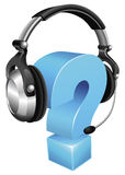 Question mark wearing headset Stock Photos