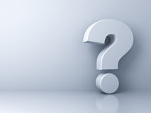 Question mark on white background with shadow and reflection Royalty Free Stock Photo