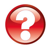 Question mark. A white question mark in a red icon Stock Photography