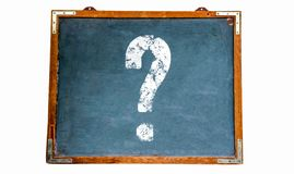 Question mark white sign on a blue old grungy vintage wooden chalkboard or retro blackboard with weathered frame. And isolated on seamless white background royalty free stock photography