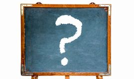 Question mark white sign drawing on a blue old grungy vintage wooden chalkboard or blackboard with frame and stand. Isolated on white background royalty free stock photo