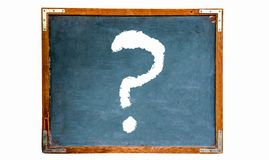 Question mark white sign drawing on a blue old grungy vintage wooden chalkboard or blackboard with weathered frame. And isolated on seamless white background stock photography