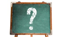 Question mark white sign on a green old grungy vintage wooden chalkboard or blackboard with frame and stand isolated on white Royalty Free Stock Photo
