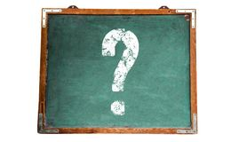 Question mark white sign on a green old grungy vintage wooden chalkboard or blackboard Royalty Free Stock Photos