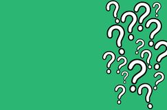 Question mark QA FAQ white signs with black outline stroke random pattern of different sign sizes on a simple green background. Question mark QA white signs with vector illustration