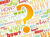 Question mark, word cloud background stock photos