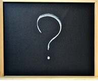 Question mark. Written on a blackboard with chalk Stock Photos