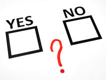 Question mark between yes no checkbox. Question mark between yes and no checkbox Royalty Free Stock Photography