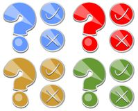 Question mark, yes, no, set of quiz button Stock Photos