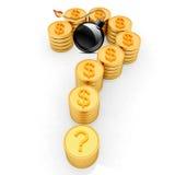Question markerar i form av guld- myntar med dollaren undertecknar, och svarten bombarderar bränning Royaltyfri Bild