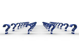 Question marks. Blue rendered question marks in 3D. Conceptual Royalty Free Stock Image