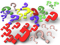 Question marks. An illustration of differently colored question marks Royalty Free Stock Photography