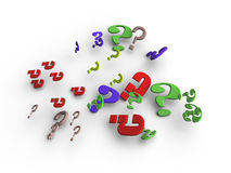 Question marks. An illustration of differently colored question marks Stock Photo