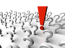 Question marks. It is a lot of question marks and one exclamation mark Stock Image