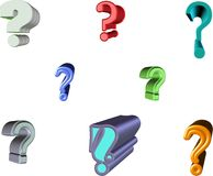 Question marks in 3d. Various question mark illustrations in 3d and colors and fonts Stock Photo