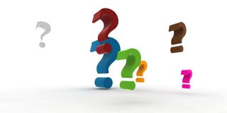 Question-marks. Multicolor question-marks in the air - 3d illustration Royalty Free Stock Images