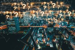 Question Marks with aerial view of Tokyo, Japan Royalty Free Stock Images