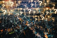 Question Marks with aerial view of Tokyo, Japan Stock Image