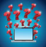 Question marks around laptop. illustration design Stock Image