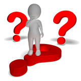 Question Marks Around Man Shows Confusion And Unsure. Question Marks Around Man Showing Confusion And Unsure Stock Photography