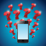Question marks around phone. illustration design Stock Photography