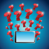 Question marks around tablet. illustration design Stock Photo