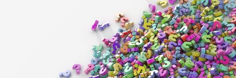 Question marks background. Business and communication concepts, three dimensional illustration royalty free illustration