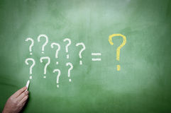 Question Marks on the blackboard Royalty Free Stock Images