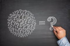 Question Marks on Blackboard Stock Photo