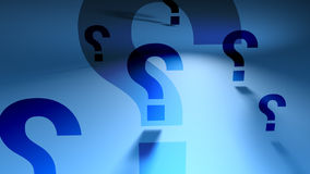 Question Marks (Blue Spinning Backgorund). Question Marks of different sizes rotating on blue background, FlatFX HD 1080 Seamless Loop stock footage