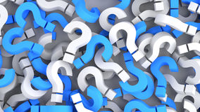 Question marks. Blue and white question marks background. 3D rendering Royalty Free Stock Photo