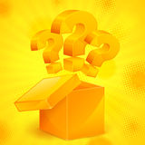 Question marks in box yellow Royalty Free Stock Photo