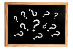 Question Marks on Chalkboard Royalty Free Stock Photos