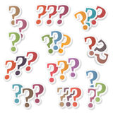 Question Marks. Colored question marks set on white background Royalty Free Stock Images