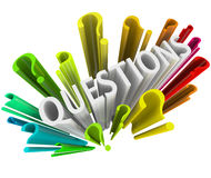 Question Marks - Colorful 3D Symbols Stock Images