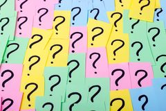 Question marks. Colorful paper notes with question marks. Concept image. Closeup Stock Image