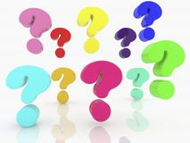 Question marks of different colors Royalty Free Stock Photo