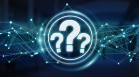 Question marks digital interface 3D rendering. Question marks digital interface  on blue background 3D rendering Royalty Free Stock Image