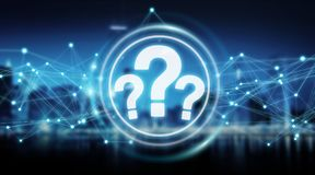 Question marks digital interface 3D rendering. Question marks digital interface  on blue background 3D rendering Royalty Free Stock Photography