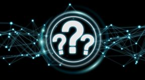 Question marks digital interface 3D rendering. Question marks digital interface isolated on black background 3D rendering Stock Photo