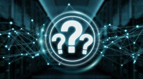 Question marks digital interface 3D rendering. Question marks digital interface isolated on blue background 3D rendering Stock Image