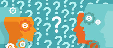 Question marks everywhere around head confused team questioning problem. Vector Stock Image