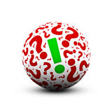 Question marks and exclamation mark. 3d ball with question marks and exclamation mark Stock Photo