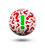 Question marks and exclamation mark. 3d ball with question marks and exclamation mark Stock Images