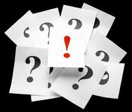 Question marks and exclamation mark, concept Stock Photos