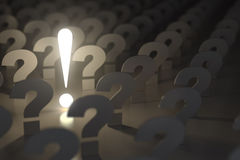 Question marks and exclamation sign. Idea or problem concept. 3d Stock Photo